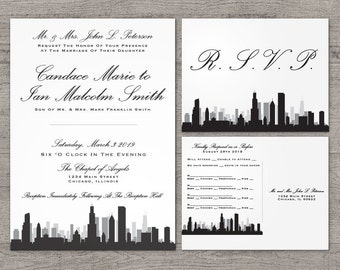 Printable Chicago Invitation Wedding Party Special Event Flat Other Cities available City Skyline Illinois Hometown Travel