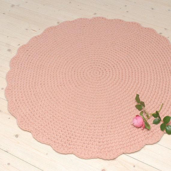 Pink Rug Round Crochet Wool Rug Nursery Rug Baby Girl Room