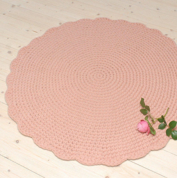 Handmade Crochet Rug Pink Rug Pink Carpet Nursery: Pink Rug Round Crochet Wool Rug Nursery Rug Baby Girl Room