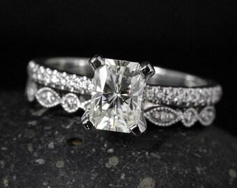 Radiant Cut Moissanite Ring - Forever Brilliant Moissanite - Milgrain Wedding Band