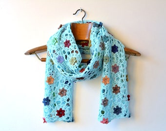 Hand crocheted green scarf