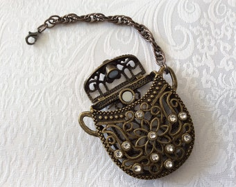 Clip on bronze essential oil diffuser on bronze mesh chain with Gunmetal lobster clasps