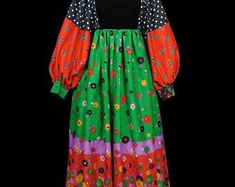 George Halley gown, vintage maxi dress, jeweled velvet, 1960s avant garde, boho bohemian russian couture, op art color block floral pattern