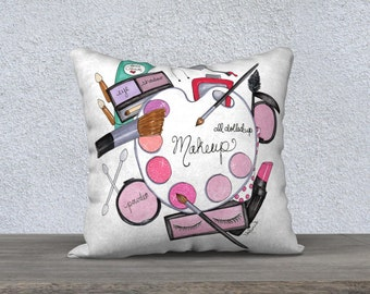 Illustrated pillow, Makeup decorative pillows, Girly cushion covers, Teen room decor, Makeup room decor, Girly pillow case, Office decor