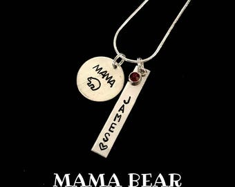 Mama Bear | Necklace | Keychain | Custom | Personalized Handstamped Jewelry