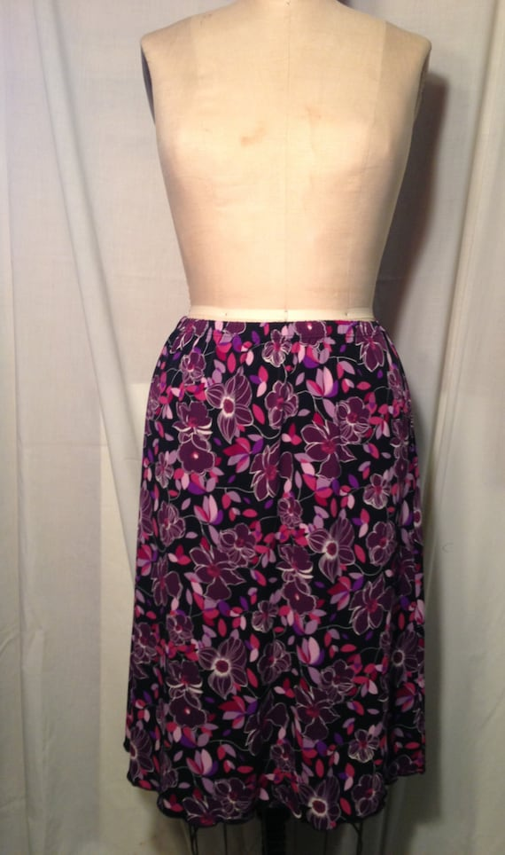 Vintage Briggs New York Floral Skirt Size 14 b8