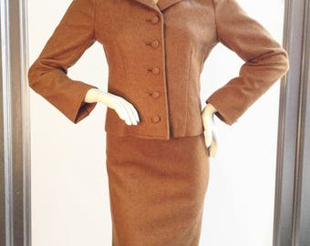 Vintage 1950's Lilli Ann Brown Wool 2 Piece Skirt Suit  Size Small
