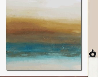 Very Large Big Modern Abstract Minimalist Landscape Textured Original Art Painting Canvas Earth Sky Brown Blue Water Decor Wall Hanging USA