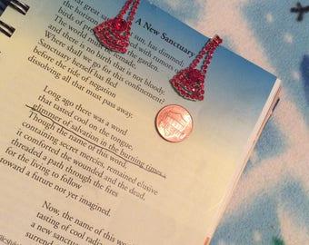 Crystal dangle pierced earrings red rhinestones 90s bling like new