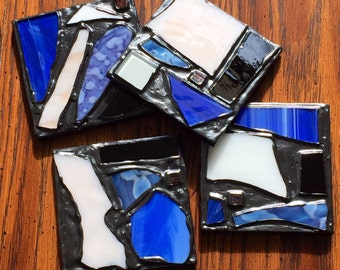 SALE - Blue & White Metallic Gray Recycled Stained Glass Mosaic Coasters (Set of 4)