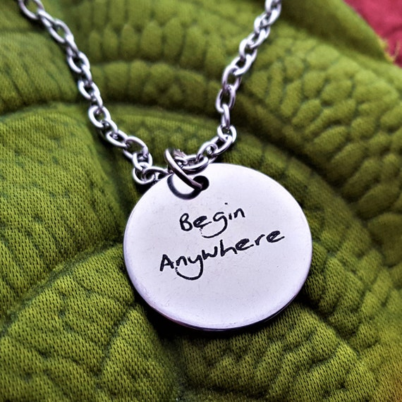 CrossFit Gift, Begin Anywhere, Gift for Coach Trainer, Bodybuilding Gift, Fitness Jewelry, Triathlon Marathon Charms, Motivational Gifts