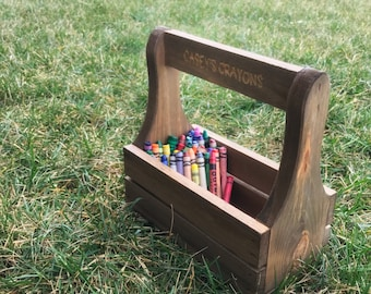 Personalized Crayon Caddy, Engraved Crayon Tote, Unique Birthday Gift, Handmade Gift for Child, Wooden Gifts, Wooden Toolbox