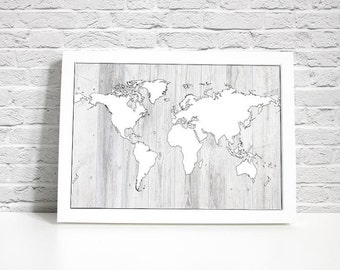 Digital Print - Map Wall Decor - White Stained