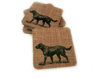 Labrador Retriever Dog Drink Coasters - Rustic Home Decor for Dog Lover - Father's Day Gift - Black Lab Barware