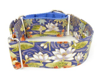 """Dog Collar - Japaneses Flowers - Martingale, Buckle - 1"""" - 2""""  inch width"""