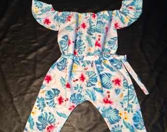 Combinations /tropical /fleurs /coton summer baby /baby child /minilook/out fit. French manufacturing