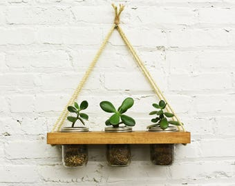 Rustic Planter, Hanging Planter, Rustic Decor, Indoor Plants, Planter, Flower Planter, Mason Jar Decor, Rustic Planter, Wooden Planter