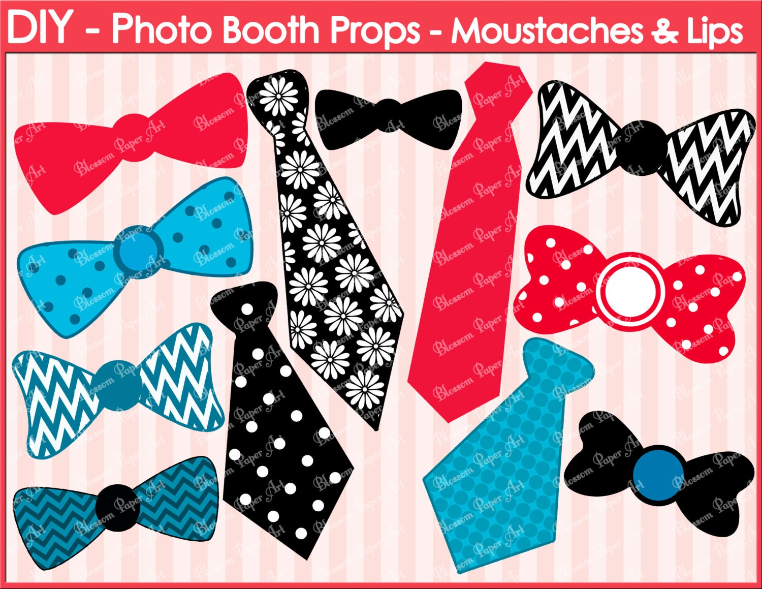 Printable photo booth props diy ties ribbons zoom pronofoot35fo Gallery