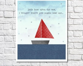 Red And Blue Little Boat On The Sea Print. Sailboat Art For Nautical Nursery. Transporation Themed Little Boy's Room. Baby Boy Nursery Decor