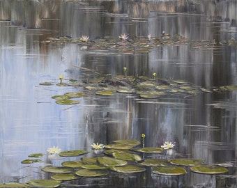 Fine Art Digital File/Pond With Water Lilies/Impressionism/JPG/Pond/Water Lilies/Landscape/Art/to print/