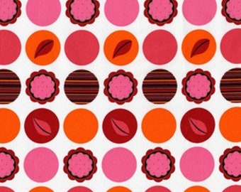 1 Yard ANDALUCIA Mod Dots Red DC3900 Pink Polka Dot Leaf Patty Young Michael Miller Quilting Sewing