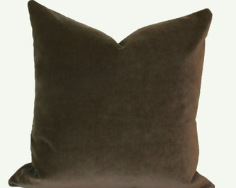 Mocha velvet throw pillow cover 18x18 20x20 22x22 24x24 26x26 16x26 16x24 14x26 14x24 Brown velvet pillow Euro sham velvet Lumbar pillow