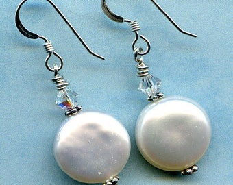 Button Pearl Sterling Silver Earrings