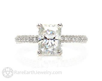 Platinum Moissanite Engagement Ring Radiant Pave Diamond Solitaire Forever One Moissanite Ring Custom Engagement Ring