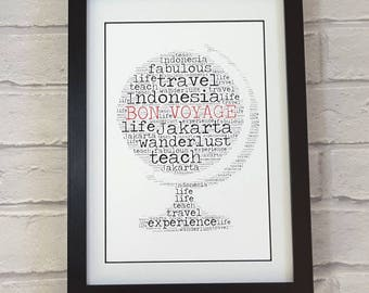 Contemporary good luck bon voyage safe travels goodbye farewell print - plane globe world suitcase print -  word art - personalised