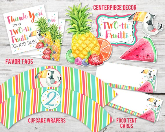 Twotti Fruitti Birthday Party Kit PRINTABLE Twotti Fruitti