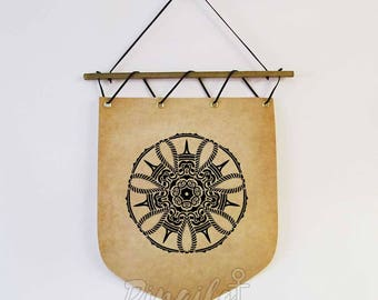 Bandiera di Mandala, Mandala parete haging bandiera bandiera, decorazione della parete di geometria sacra, dono spirituale Mandala, arredamento ufficio Yoga, Yoga studio arredamento