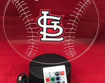 St. Louis Cardinals MLB Light Up Night Light Lamp LED With Remote  Personalized Free Engraved