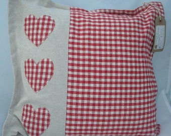 Red Gingham hearts cushion - appliqued hearts