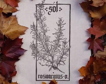 Sol-Rosmarinus officinalis PLANHERBARIUM linocut Print