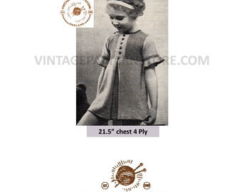"""Girls toddlers 1930s, round neck, box pleat, short sleeve party dress - 21.5"""" chest - Vintage PDF Knitting Pattern 1181"""