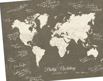 Hereandthereshop etsy custom world map custom map gift personalized map wedding guest book alternative map gumiabroncs Image collections