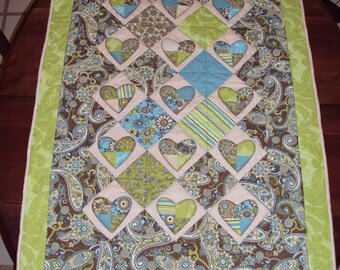 Chocolate and lime  baby quilt
