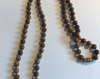 "Vintage Knotted Chocolate Jasper Bead Necklace 24"" Long"