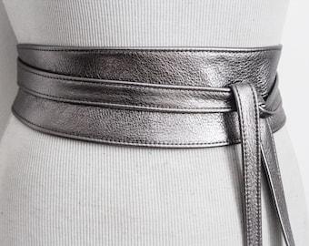 Pewter Silver Leather Obi Belt | Waist or Hip Belt | Leather tie belt | Real Leather wrap Belt | Bridesmaid belt