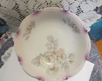 Lovely vintage  china serving bowl with flowers and leaves, fluted edges painted in lavender