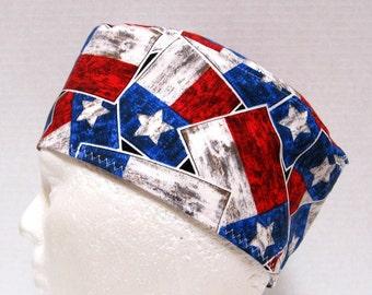 Mens Scrub Hat, Scrub Cap, Surgical Cap, Skull Cap, Chemo Cap Texas Flag
