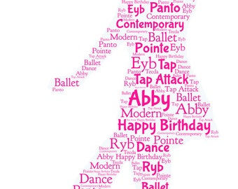 Personalised Word Art Greetings Card - Ballet Dancer - Birthday - Anniversary - Thank You - Congratulations - Dancing - Exam - Show