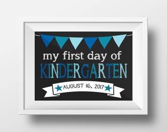First Day of School Kindergarten Chalkboard Sign 11x14 inches DIGITAL ITEM - Print Yourself