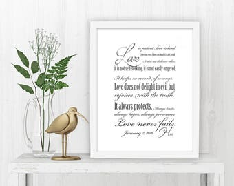 Scriptures for Couples, 1 Corinthians 13,  Personalized, Monogrammed, Framed, Wedding, Gift,Canvas, Anniversary, Love is patient, Print, Ann