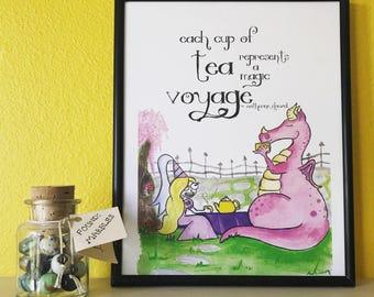 Dragon Tea Party Art Print