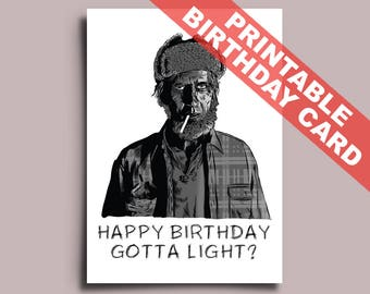 Twin Peaks Printable Birthday Card, Editable PDF, Woodsman, David Lynch, Laura Palmer, can be Personalised Personalized