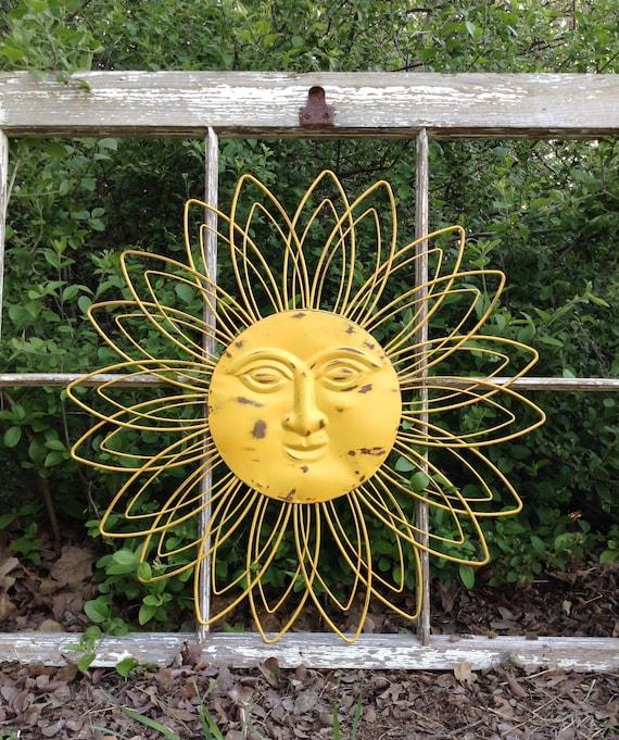 22 Metal Sun Face Yellow Celestial Outdoor Decor