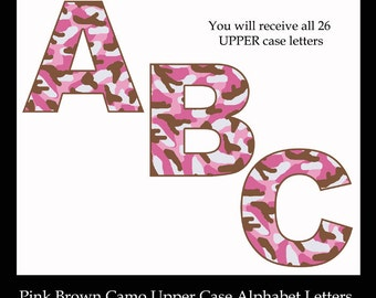 PINK CAMO LETTER Clip Art Alphabet abc Camouflage Digital Graphics Scrapbook Embellishment Scrapbooking Elements Brown Hunting Clipart