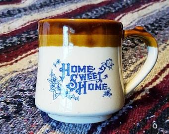 VINTAGE Home Sweet Home coffee mug with teabag / spoon holder / 1970s coffee mug