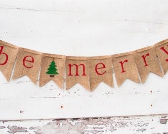 christmas decoration be merry banner burlap christmas banner rustic christmas banner holiday - Burlap Christmas Banner